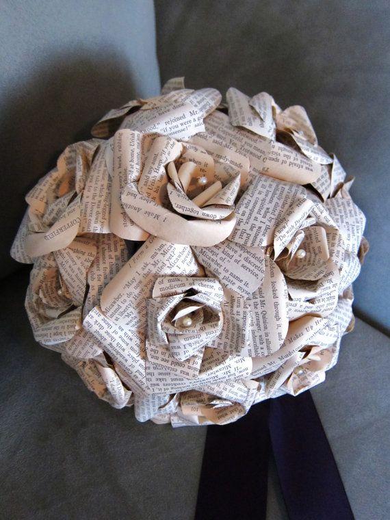 Personalized Love Letter Bouquet: Books Pages, Bridal Bouquets, Bouquets Toss, Rose Bouquet, Paper Rosette, Letters Bouquets, Paper Bouquets, Paper Letters Wedding Bouquets, Books Flowers
