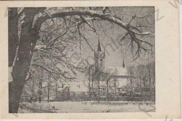 - Polička (Politschka), kostel, v zimě 1944