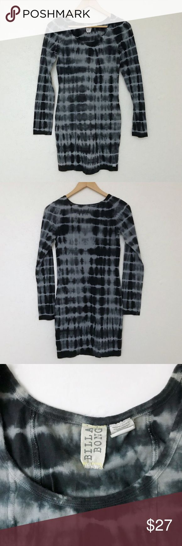 Billabong; Tight Long Sleeve Dress Tye Dye Billabong size large. Thick stretchy material. Excellent preowned condition-only worn once to NYE, no signs of wear.  Has nice long sleeves, tight body-con  style, and the tie dye is shades of a muted dark blueish green and a pale light blue. Billabong Dresses Long Sleeve