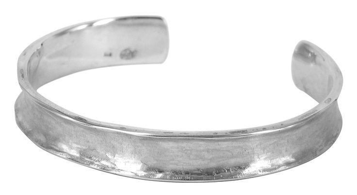 Wrist cuff in hand beaten sterling silver