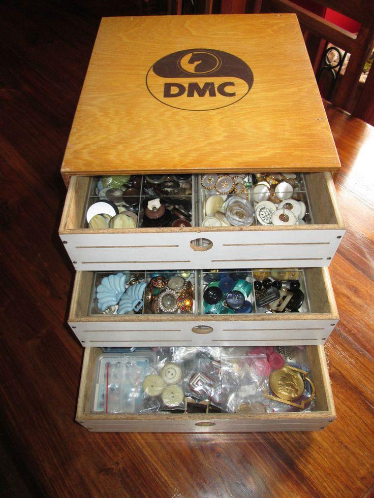 Vrai et ancienne boite mercerie en bois dmc a 3 tiroirs for Boite mercerie