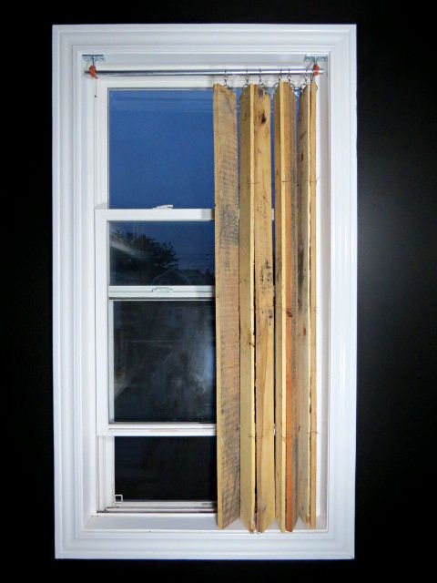 Pallet wood vertical blinds made of free pallet wood along with home improvement store hardware!…