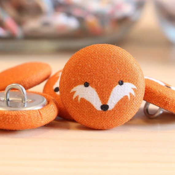 Fabric Covered Buttons -Fox on Orange - 1 Medium Fabric Buttons