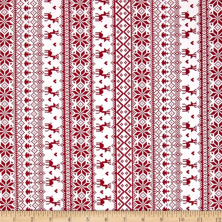 Winter Essentials II Knitted Sweater Red on White from @fabricdotcom  From Studio E, this cotton print is perfect for quilting, apparel and home decor accents.  Colors include red and white.  This stripe is printed parallel to the selvedge.