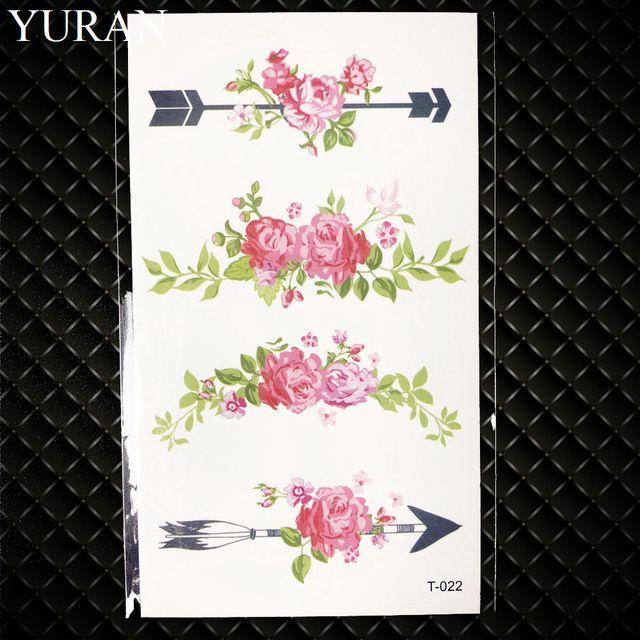Schwarzes Dreieck Rose Blume Temporäre Tätowierung Sommer Feder Vögel Tattoo Aufkleber Frauen Party Wasserdicht Tatto Mädchen Körper Arm Art #tattooedgirls