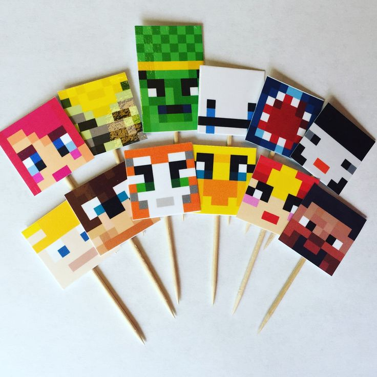 Stampy and Friends Cupcake Toppers, Stampylonghead, Friends, Stampy Birthday, Minecraft Birthday Party Decor by CrazyTops on Etsy https://www.etsy.com/listing/291773091/stampy-and-friends-cupcake-toppers