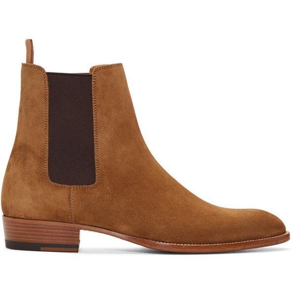 Saint Laurent Tan Suede Hedi Chelsea Boots ($905) ❤ liked on Polyvore featuring men's fashion, men's shoes, men's boots, yves saint laurent mens shoes, mens tan boots, mens cuban heel shoes, yves saint laurent mens boots and mens cuban heel boots