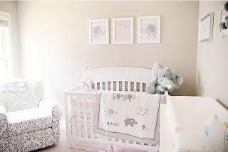 baby girl pink and gray nursery with elephants