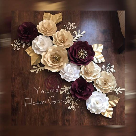 Maroon Accent Paper Flower Set