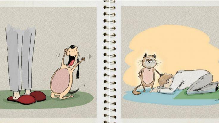 KOČKY VS. PSI: - Slavný umělec vyobrazil, jaký je rozdíl mezi tím vlastnit kočku a psa