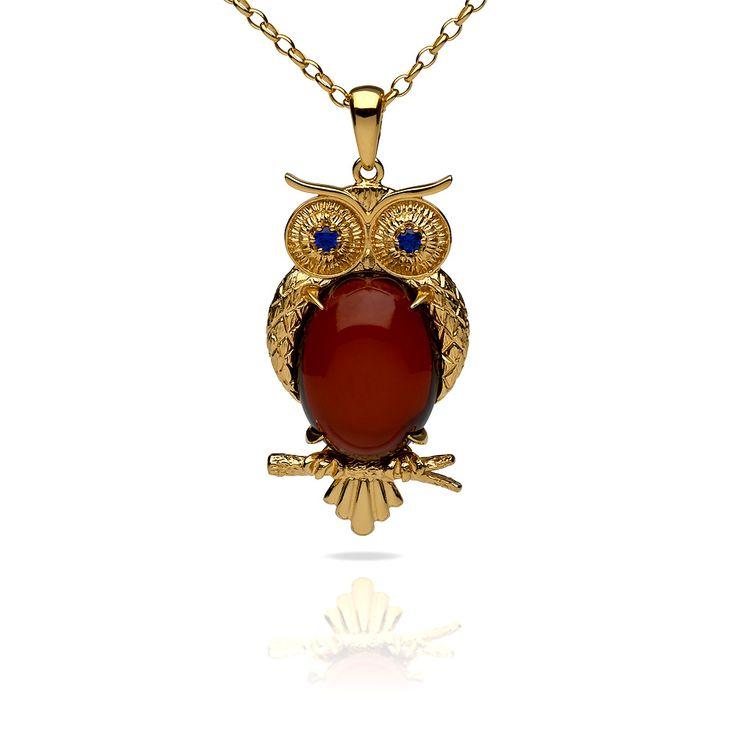 Amber owl pendant by NAC Amber, cherry amber stone set in silver gold plated