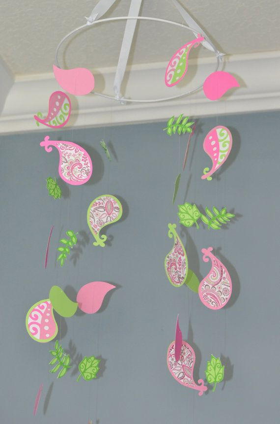 Paisley Nursery Mobile  Pink and Green by FlutterBunnyBoutique, $69.99