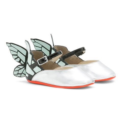 Chiara Silver Butterfly Crib Shoes