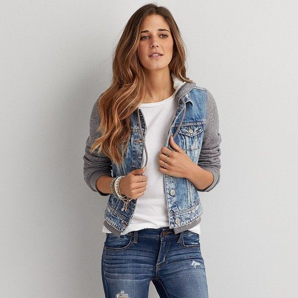 AE Hooded Denim Jacket (91 AUD) ❤ liked on Polyvore featuring outerwear, jackets, blue, hooded jacket, hooded denim jacket, american eagle outfitters, american eagle outfitters jacket and denim jacket