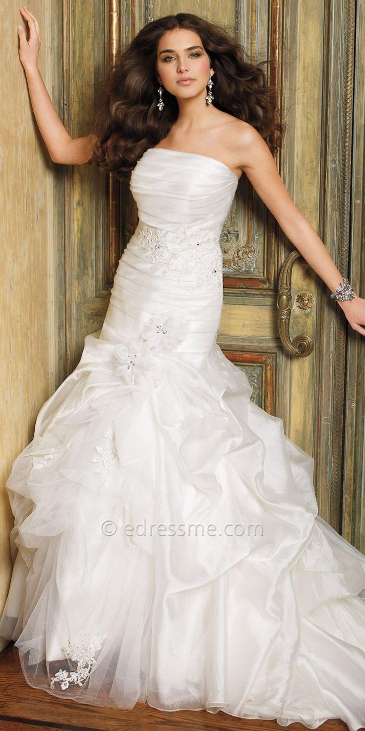 Strapless Organza Flounce Wedding Dresses by Camille La Vie-image