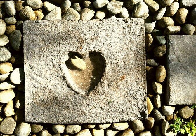 April 2016. Concrete path. Garden. Heart