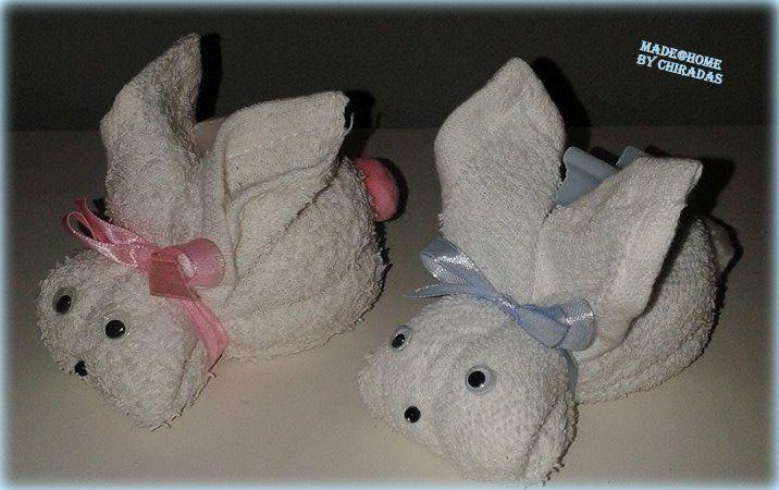 Konijntjes van spuugdoekje met babyzeepje