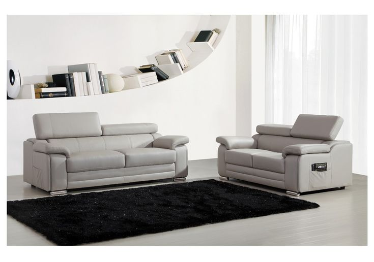 ensemble canap s 2 et 3 places dakota en cuir gris prix promo 639 00 ttc au lieu. Black Bedroom Furniture Sets. Home Design Ideas