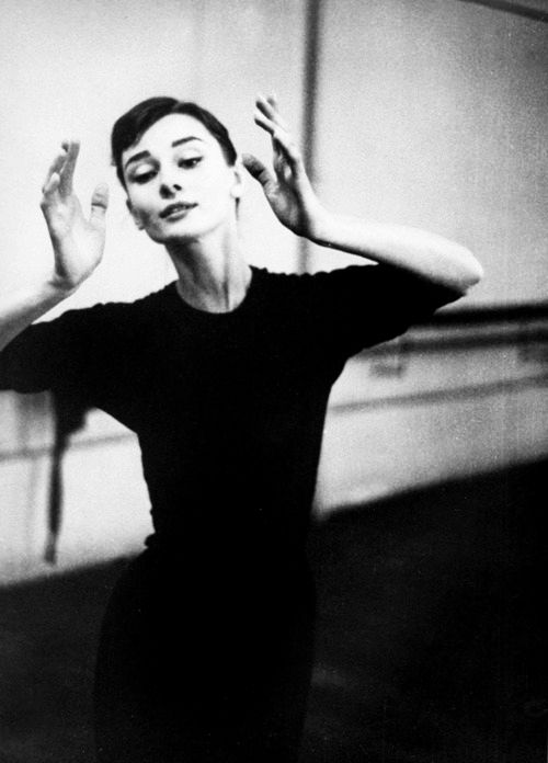 Audrey Hepburn rehearsing her dance for Funny Face. Photo: Willy Rizzo, 1956.