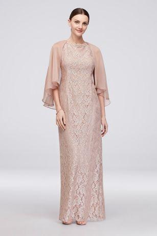 9fc71134 Beaded Glitter Lace Sheath Gown with Chiffon Cape | David's Bridal ...