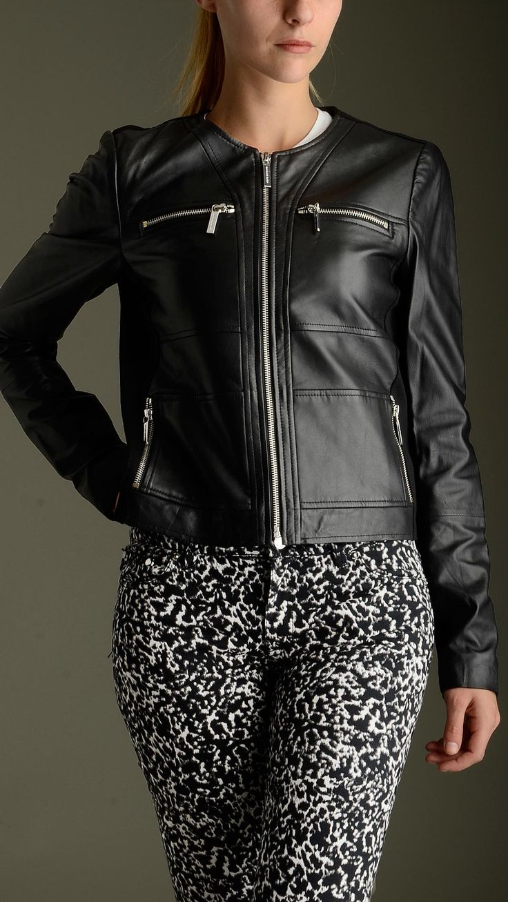 Crewn neck black leather front panel jacket featuring zip fastening, long sleeves, four zippered pockets at front, lining, black trims , exterior: 100% sheep leather