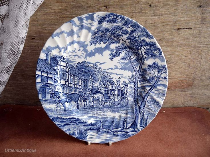 Vintage Myott Royal Mail Made In England Blue And White Transferware Lunch Plate Retro English Tableware Retro Classic D Transferware Plate Display Tableware