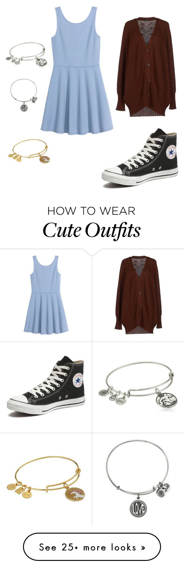 """Cute School Outfit"" by oliviamca on Polyvore featuring Zanone, Converse, Alex and Ani, women's clothing, women's fashion, women, female, woman, misses and juniors"