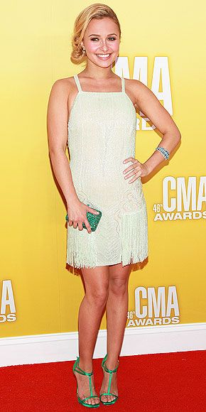HAYDEN PANETTIERE  She may be the star of Nashville, but Hayden channels Charleston in an embellished mint-colored Georges Chakra Couture mini with fringe detail. She accessorizes with a L'Dezen Jewellery bracelet, green clutch and matching sandals.