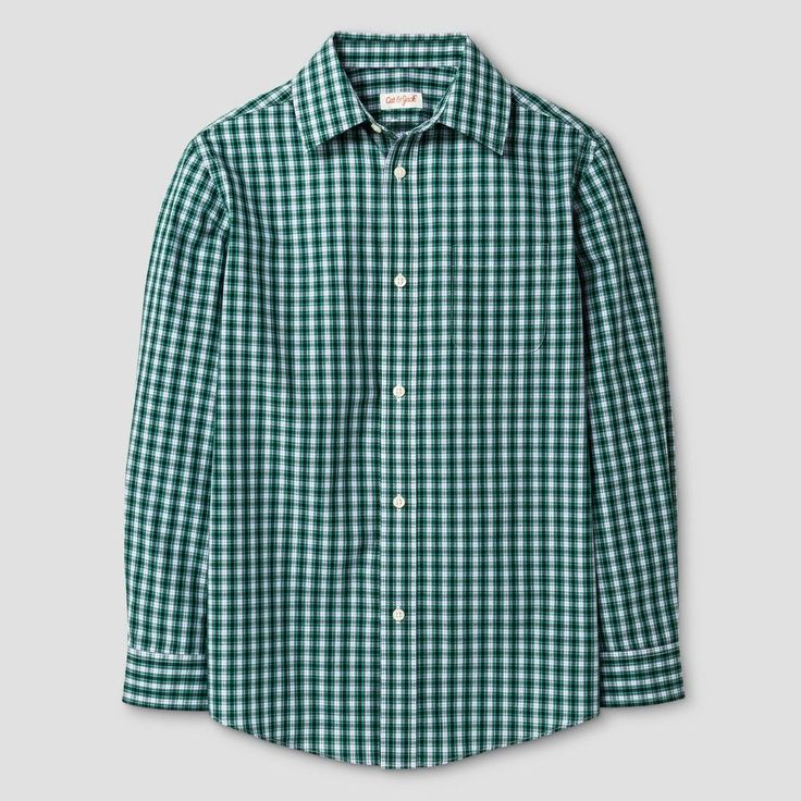 Boys' Button Down Shirt Cat & Jack Green Blue Checks Xxl, Blue Green