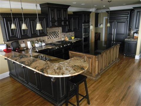 Magma Granite With Black Cabinets Beautiful Addition Pinterest Black Cabinet Granite