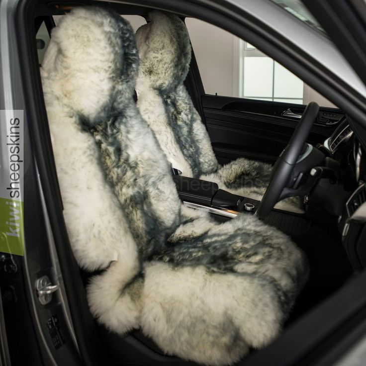 Sheepskin car seat covers - Grey Tip color
