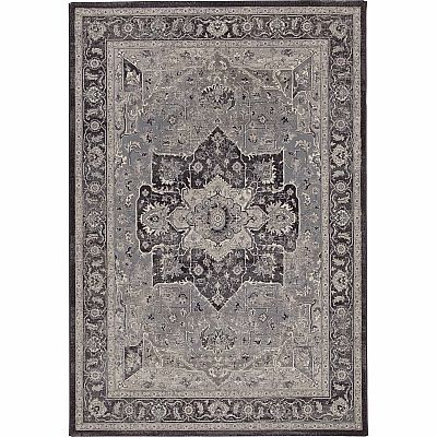 Traditionally  vintage decorated 'Dark Geo Antares' rug