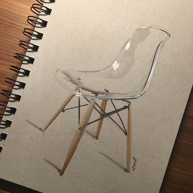 "Instagram @wrenchbone - ""10min Eames side chair - transparent. #Eames #eameschair #sketch #sketching #sketchaday #sketchbook #doodle #doodles #doodling #nofilter #draw #drawing #drawingclass #sketchwars #idsketching #instart #design #chair #pencil #pencildrawing #copic #copicmarker #copicmarkers #instasketch #doodlesofinstagram"""