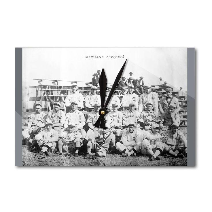 Cleveland Indians Team, Baseball - Vintage Photo (Acrylic Wall Clock), Black