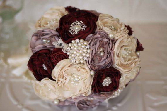 Vintage Inspired Fabric Flower Bouquet by MyVintageWeddingAust