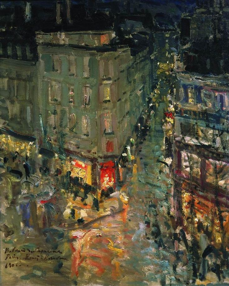"""Paris. Boulevard Des Capucines. 1906. Konstantin Alekseyevich Korovin (1861-1939) was a leading Russian Impressionist painter. In 1885, Korovin traveled to Paris and Spain. """"Paris was a shock for me … Impressionists… in them I found everything I was scolded for back home in Moscow"""", he later wrote."""