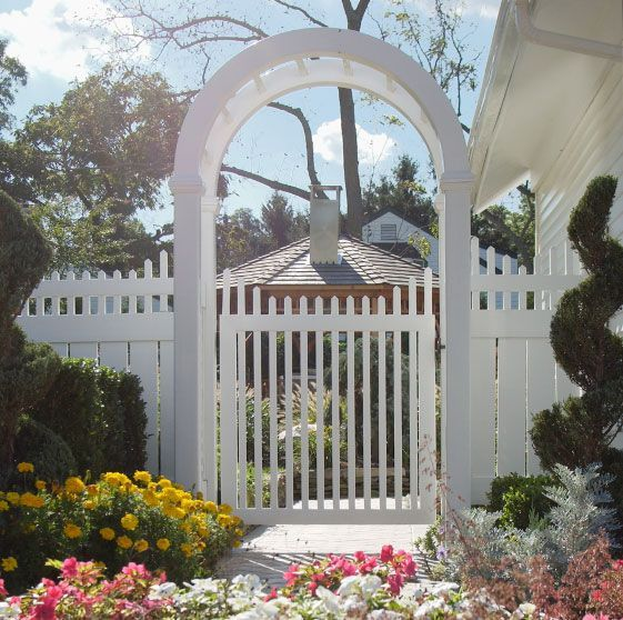 Picket fence gate w arbor arbors pergolas white for Fence with arbor