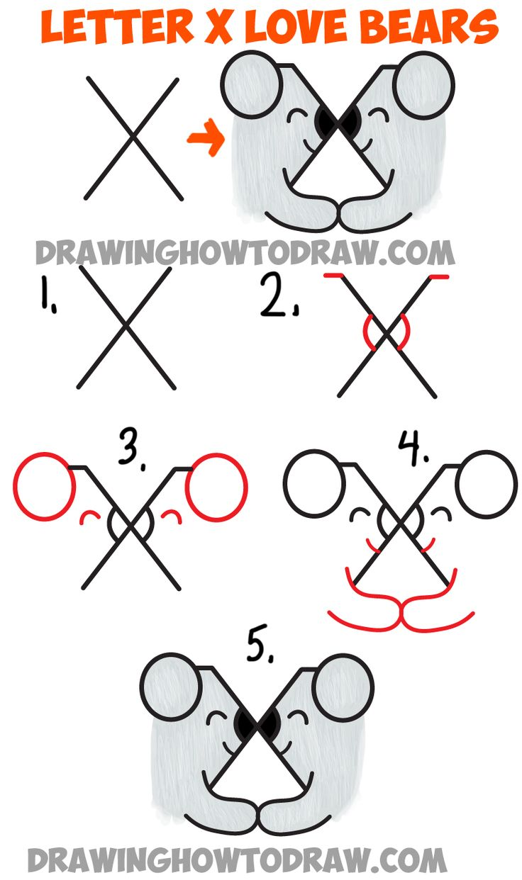 Learn How to Draw Two Bears in Love from the Letter X - Easy Step by Step Drawing Lesson for Kids