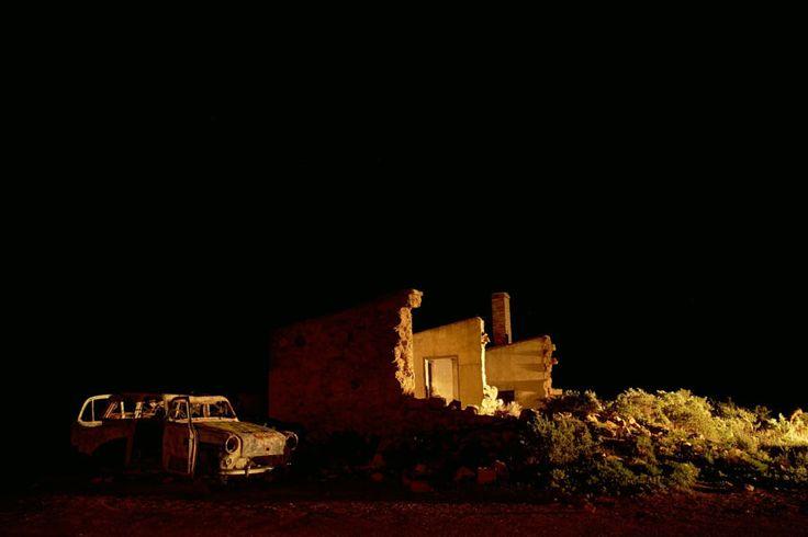 Copyright, 2016. Natalie Uscinas. Ruins at night. Silverton, outback New South Wales, Australia.