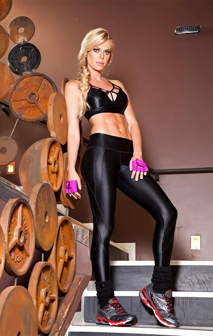Shiny black fitness leggings 8
