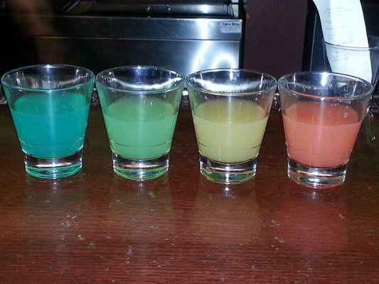 Skittles Shot  - 1oz Apple Schnapps - 1oz Grape Schnapps - 1oz Watermelon Schnapps
