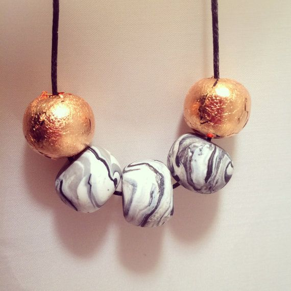 Marble & Copper Foil Beaded Polymer Clay Necklace by CKWJewellery