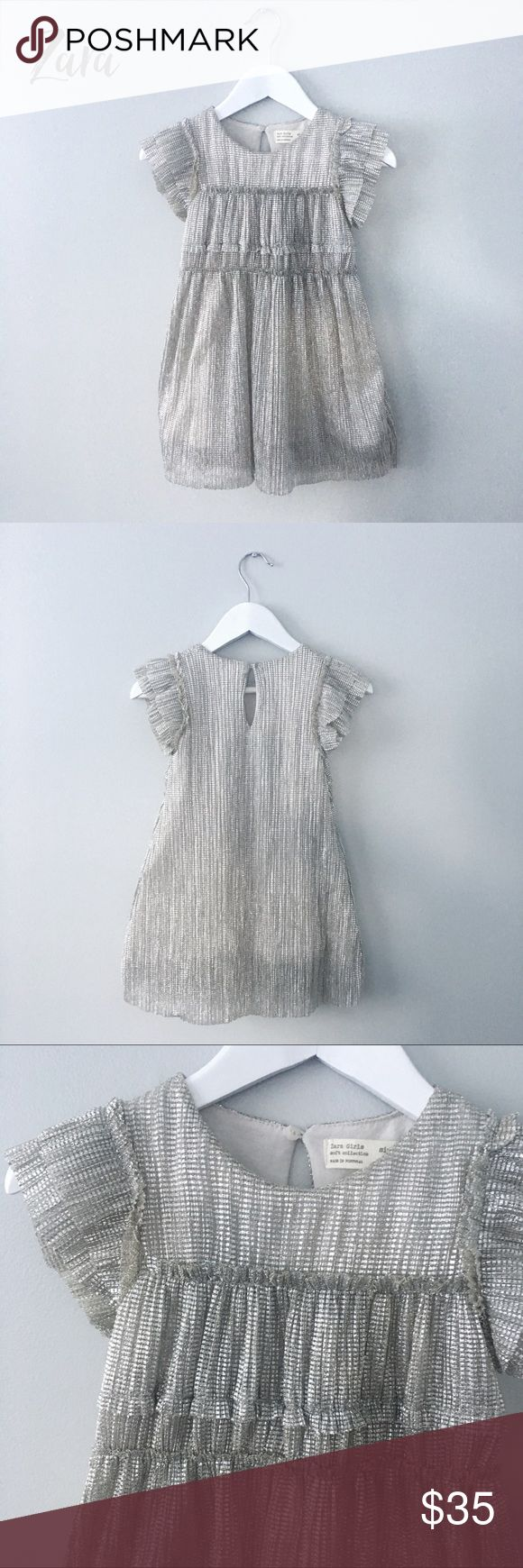 Zara dress Just like new ! Gorgeous special occasion dress. Metallic / silver and gray color, very stretchy material, lightweight. Runs small ( short ) Zara Dresses Formal