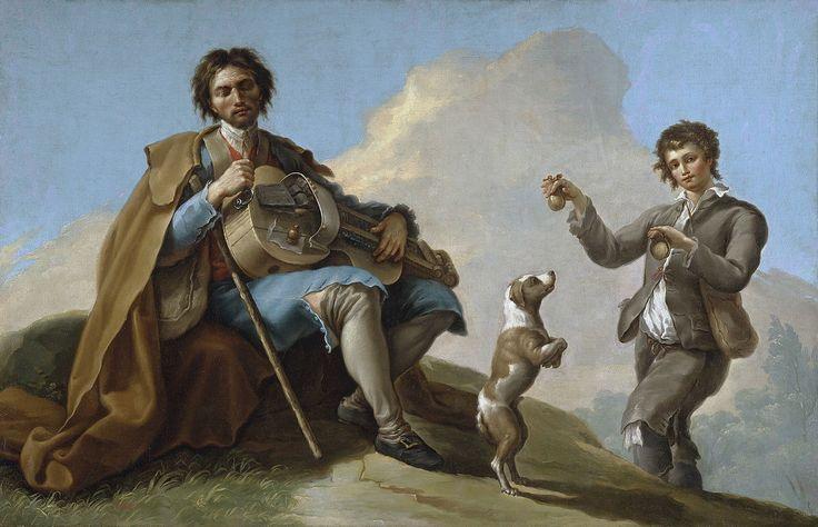 """""""El ciego músico"""" Bayeu, 1876  ROMANCES de CIEGO. Goya, Bayeu o Latour, reflejaron en su pintura el tema de los ciegos, mendigos errantes que iban de pueblo en pueblo relatando musicalmente temas insólitos o truculentos. Tipo de romance de raíces populares inscrito en el género de la llamada literatura de cordel. Similares en su métrica y estructura a los romances tradicionales."""