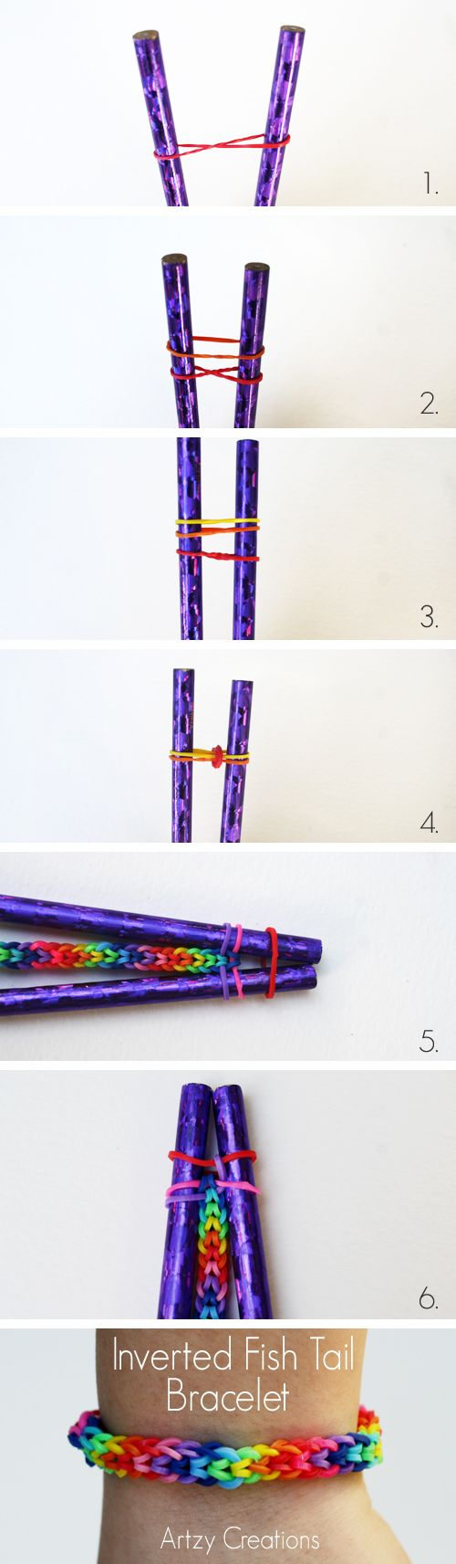 Here's a great version of the Rainbow Loom Bracelet Without the Loom called an Inverted Fish Tail. This is really easy and my daughter was able to create this bracelet in no time, so, I highly recommend this version of a Rainbow Loom Bracelet. Things You Will Need: Rainbow Loom Bands Two Pencils Step 1:…