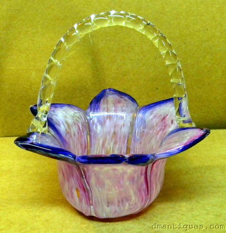 ANTIQUE VICTORIAN DECORATIVE ART GLASS BASKET BOWL PURPLE PINK FLOWER PETALS | Antiques, Decorative Arts, Glass | eBay!