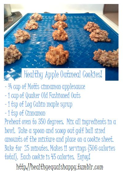 Healthy Apple Oatmeal Cookies (I recommend real maple syrup over Log Cabin... and I'll be using Trader Joe's applesauce, thanks! [wink]): Applesauce Oatmeal, Oatmeal Apple Cookies, Healthy Apple, Healthy Oatmeal Cookies, Healthy Recipes, Sounds Yummy, Oatmeal Cookies Healthy, Apple Oatmeal Cookies
