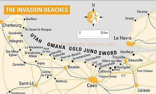 Invasiestranden - Normandië route