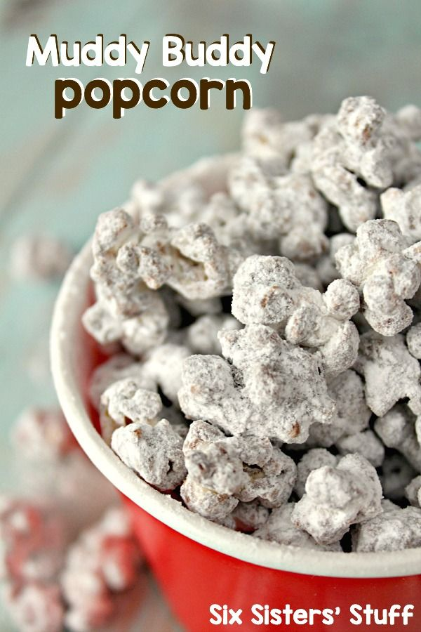 Muddy Buddy Popcorn on SixSistersStuff.com - perfect for New Years' Eve parties or football game snacks!