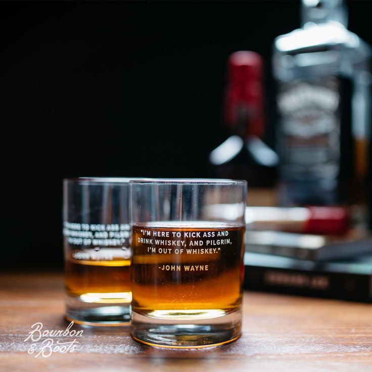 """John Wayne Whiskey Legend Rocks Glass Set. """"I'm here to kick ass and drink whiskey, and pilgrim, I'm out of whiskey."""""""